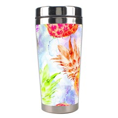 Colorful Pineapples Over A Blue Background Stainless Steel Travel Tumblers by DanaeStudio