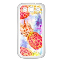 Colorful Pineapples Over A Blue Background Samsung Galaxy S3 Back Case (white) by DanaeStudio