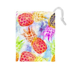 Colorful Pineapples Over A Blue Background Drawstring Pouches (large)