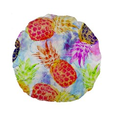 Colorful Pineapples Over A Blue Background Standard 15  Premium Flano Round Cushions by DanaeStudio