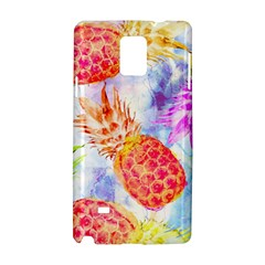 Colorful Pineapples Over A Blue Background Samsung Galaxy Note 4 Hardshell Case by DanaeStudio
