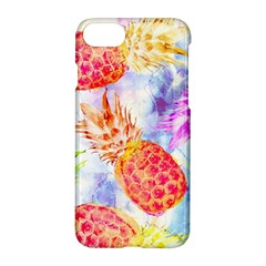 Colorful Pineapples Over A Blue Background Apple Iphone 7 Hardshell Case by DanaeStudio