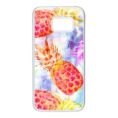 Colorful Pineapples Over A Blue Background Samsung Galaxy S7 White Seamless Case by DanaeStudio