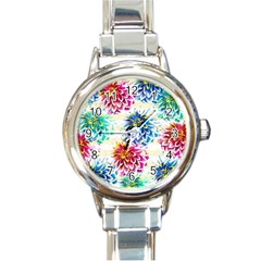 Colorful Dahlias Round Italian Charm Watch