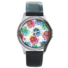Colorful Dahlias Round Metal Watch