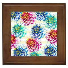 Colorful Dahlias Framed Tiles