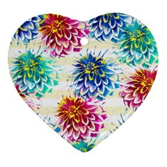 Colorful Dahlias Ornament (Heart)