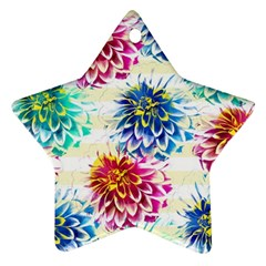 Colorful Dahlias Ornament (star)  by DanaeStudio