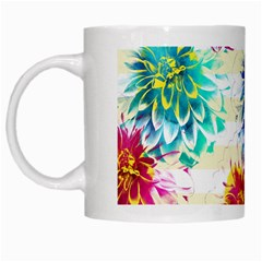 Colorful Dahlias White Mugs by DanaeStudio