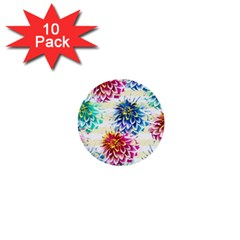 Colorful Dahlias 1  Mini Buttons (10 pack)