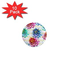 Colorful Dahlias 1  Mini Magnet (10 pack)