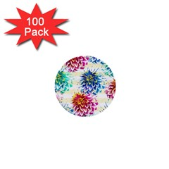 Colorful Dahlias 1  Mini Buttons (100 pack)