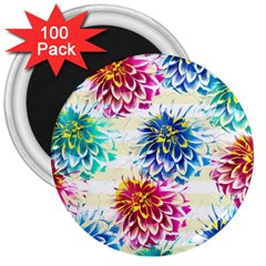 Colorful Dahlias 3  Magnets (100 pack)