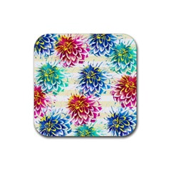 Colorful Dahlias Rubber Coaster (square)  by DanaeStudio