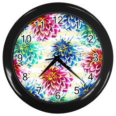 Colorful Dahlias Wall Clocks (black) by DanaeStudio