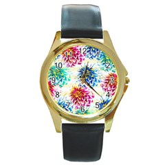 Colorful Dahlias Round Gold Metal Watch