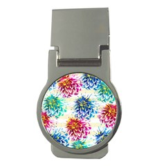 Colorful Dahlias Money Clips (Round)