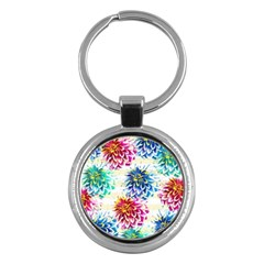 Colorful Dahlias Key Chains (Round)