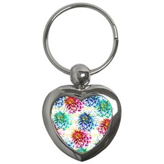 Colorful Dahlias Key Chains (Heart)