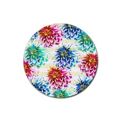Colorful Dahlias Rubber Round Coaster (4 pack)