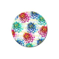 Colorful Dahlias Magnet 3  (Round)