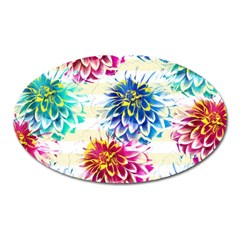 Colorful Dahlias Oval Magnet