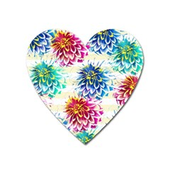 Colorful Dahlias Heart Magnet