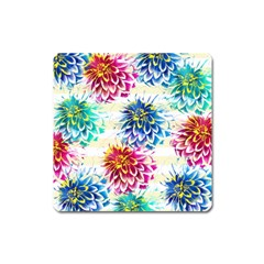 Colorful Dahlias Square Magnet by DanaeStudio