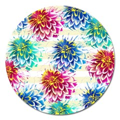 Colorful Dahlias Magnet 5  (Round)
