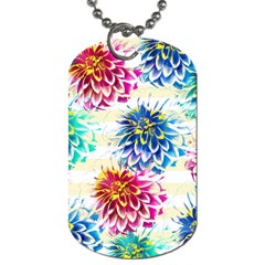 Colorful Dahlias Dog Tag (two Sides) by DanaeStudio