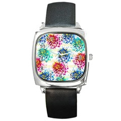 Colorful Dahlias Square Metal Watch