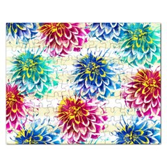 Colorful Dahlias Rectangular Jigsaw Puzzl by DanaeStudio