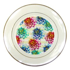 Colorful Dahlias Porcelain Plates
