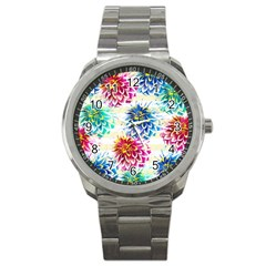 Colorful Dahlias Sport Metal Watch