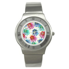 Colorful Dahlias Stainless Steel Watch