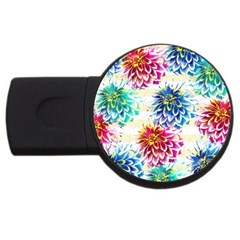 Colorful Dahlias Usb Flash Drive Round (4 Gb)  by DanaeStudio