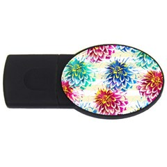Colorful Dahlias USB Flash Drive Oval (4 GB)