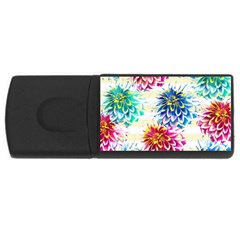 Colorful Dahlias Usb Flash Drive Rectangular (4 Gb)  by DanaeStudio