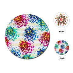 Colorful Dahlias Playing Cards (Round)