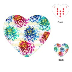 Colorful Dahlias Playing Cards (Heart)