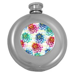 Colorful Dahlias Round Hip Flask (5 oz)
