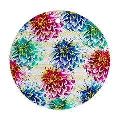 Colorful Dahlias Round Ornament (two Sides)  by DanaeStudio