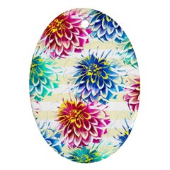 Colorful Dahlias Oval Ornament (Two Sides)