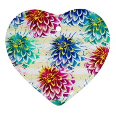 Colorful Dahlias Heart Ornament (2 Sides)