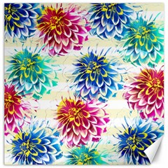 Colorful Dahlias Canvas 12  x 12