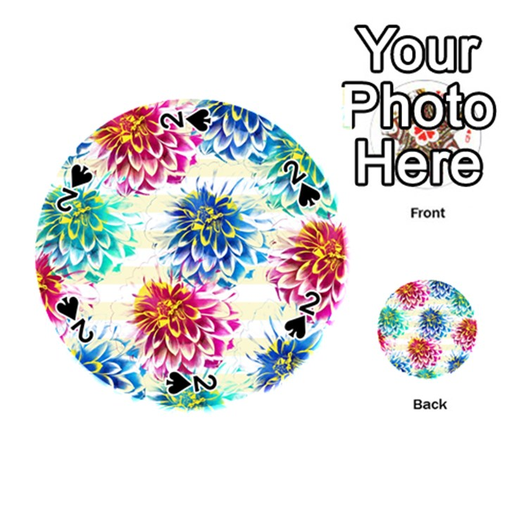 Colorful Dahlias Playing Cards 54 (Round)