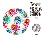 Colorful Dahlias Playing Cards 54 (Round)  Front - Heart7