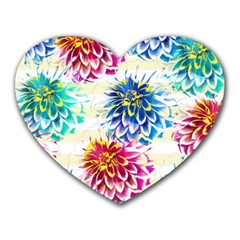 Colorful Dahlias Heart Mousepads by DanaeStudio