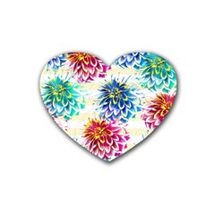 Colorful Dahlias Rubber Coaster (Heart)