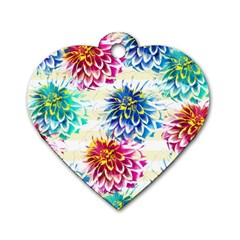 Colorful Dahlias Dog Tag Heart (One Side)